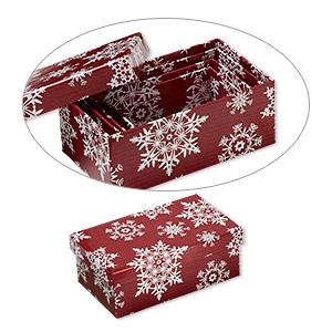 XXO201X Nestdoosjes rode/wit met sneeuwvlokdesign 4 st rechthoek 9x5, 10,5x6, 12x7 en 13,5x8 cm