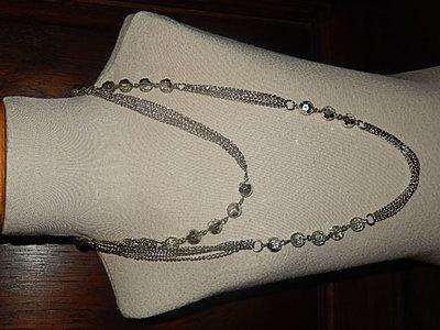 KTO002X42 Zilverkleurige ketting met transparante en zilveren kralen 42 cm