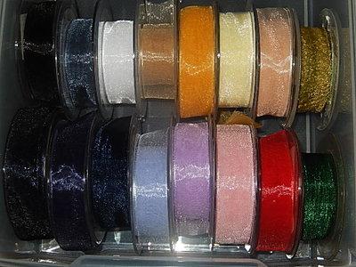 LO2500 Organza lint 25 mm breed meerdere kleuren