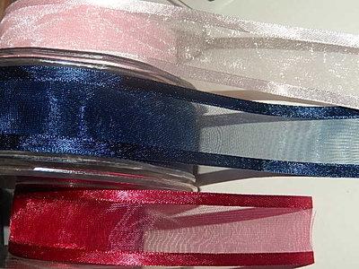 LO2510 Organza lint 25 mm breed met satijnrand meerdere kleuren
