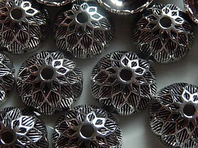 KK00121 Tibetaans zilveren kralenkapje 1 st 6x15 mm