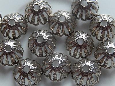 KK00102 Filigraan zilveren kralenkapje 1 st 6x11 mm