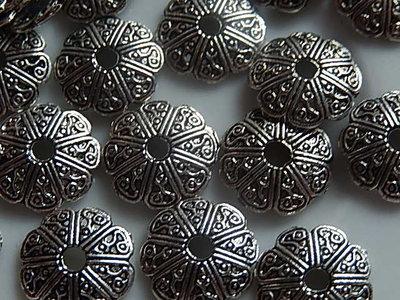 KK00105 Tibetaans zilveren kralenkapje 1 st 2x12 mm