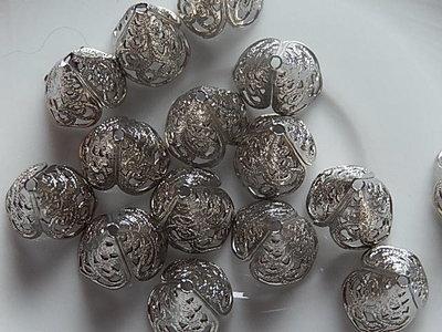 KK00126 Filigraan zilveren kralenkapje 1 st 16x13 mm