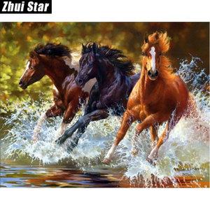 DP0114 Diamond painting paarden in galop 40x50 cm