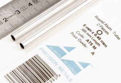 Aluminium buis 2st 5mm x 0,45mm (wanddikte) 305 mm lang