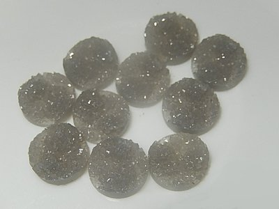 CBK001R12D Imitatie mineraal druzy 10 st grijs 12 mm