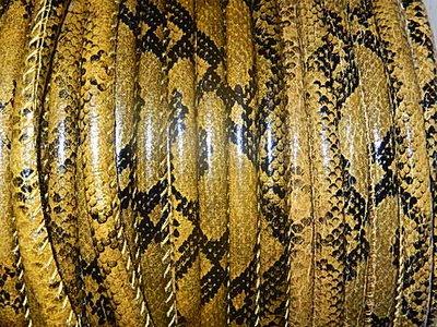 DRL301R60 PU imitatieleer gestikt 20 cm oker slangeleer 6 mm