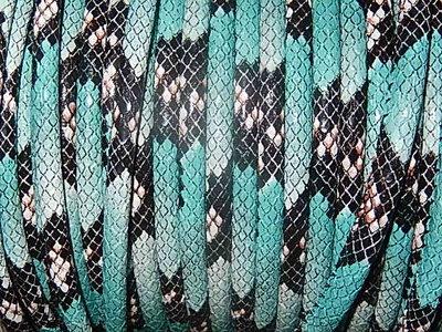 DRL401R60 PU imitatieleer gestikt 20 cm turquoise slangeleer 6 mm