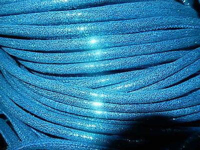 DRL402R60 Gestikt imitatie leer 20 cm metallic petroleum blauw 6 mm