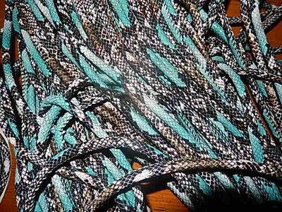 DRL403R60 PU imitatieleer gestikt 20 cm turquoise slangeleer 6 mm