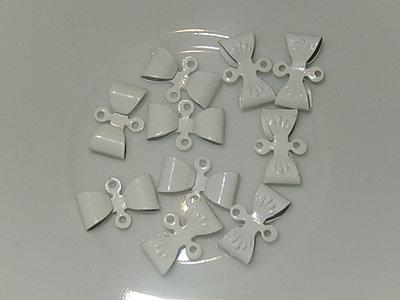 HAM101X08 Metalen strikjes 10 st 8x12 mm wit