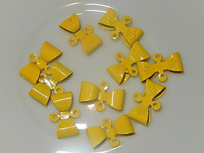 HAM301X08 Metalen strikjes 10 st 8x12 mm geel