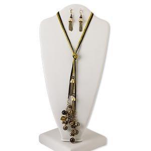 KTO002X60 Zwart/gele ketting met bronskleurige accenten 60 cm met 2 bijpassende oorbellen