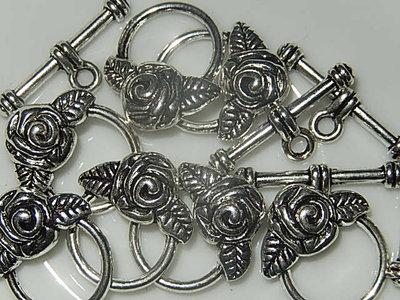 SLM001R19 Tibetaans zilveren kapittelsluiting met roos 1 st 19x17 mm